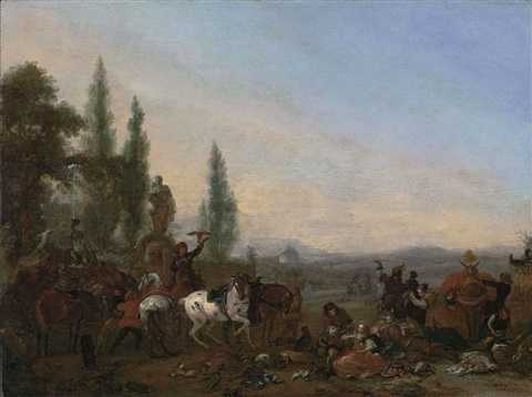 a hawking party with figures resting by a fountain, in an extensive landscape by philips wouwerman