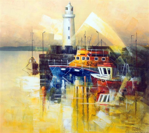 donaghadee harbor by verner finlay