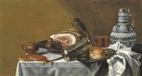 a ham and a bread roll on pewter plates, a silver-gilt beaker, a beer glass, a stoneware jug, a knife, bread and a stoneware mustard jar, on a draped table by pieter van berendrecht