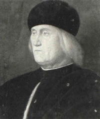 portrait of a gentleman wearing black, fur trimmed tunic by vincenzo catena