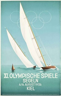 xi olympische spiele, seglen, kiel by ottomar anton