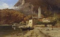 schloss feriolo am lago maggiore mit personenstaffage by maximilian von fichard