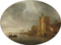 a river landscape with figures in rowing boats near a tower on the outskirts of a walled town by frans de hulst