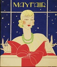 woman unwrapping present (magazine cover illus. for mayfair) by glory merritt