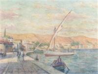a village harbour by stelios miliadis