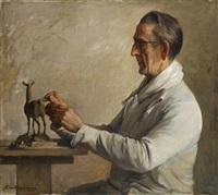 portrait de l'artiste albéric collin sculptant by george van raemdonck