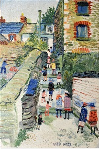 polruan, figures on the steps by fred yates