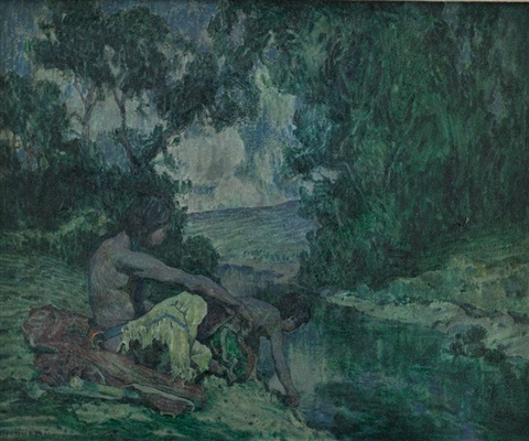 indians by moonlit stream by eanger irving couse