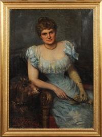 portrait de femme au chien by léon herbo