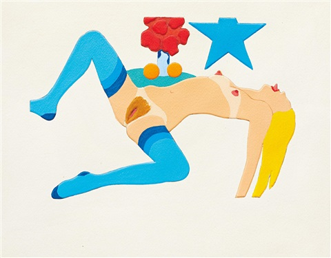 embossed nude 3 legs spread by tom wesselmann