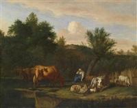 landschaft mit viehherde by adriaen van de velde