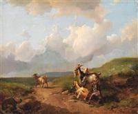 vier ziegen und ein lamm auf einer weide im hochgebirge by johann josef rauch