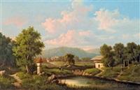 alpesi falu látképe by l. roehn