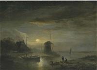 a moonlit river landscape by jacobus theodorus abels