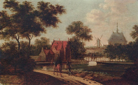 travellers on a track before a canal a mansion and windmill beyond by johannes dircksz oudenrogge