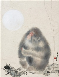 monkey under the moon by lin hugui