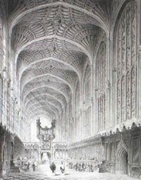 interior of king's college chapel, cambridge by henry sargent storer