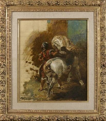 cavalier arabe et sa monture esquisse sketch by eugène delacroix