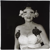 lady at a masked ball with two roses on her dress, n.y.c by diane arbus