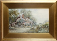 a cheshire cottage (+ cottage near wellington, salop; pair) by james hughes clayton
