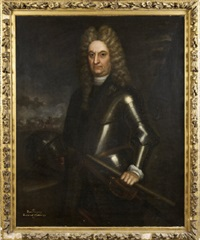 rouvingy, earl of gallway. three quarter length, in armour, a battlefield in the background by martin maingaud