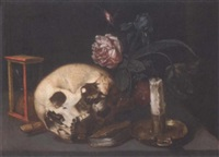 a vanitas still life with a skull, an hourglass, a recorder, a candle and candlestick and mixed flowers on a table by jacques linard
