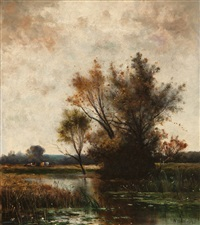 autumnal landscape with cattle by william henry hilliard