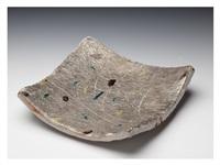 a silver sancai square bowl by kitaoji rosanjin