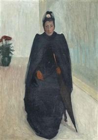 femme assise avec un parapluie by louis anquetin