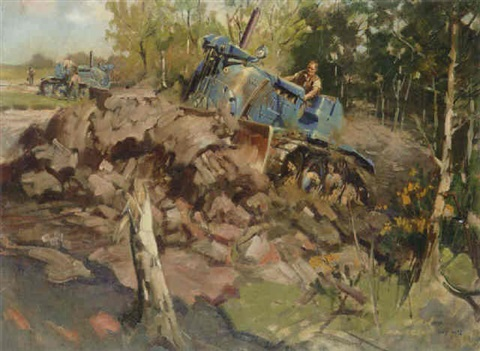 clearing woodland the vickers vigor tractor by terence cuneo