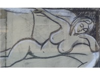 reclining frame nudes (2 works) by theodore major