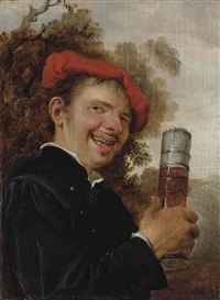 an allegory of taste: a man, bust-length, in a black jacket and red beret, holding a pasglas by petrus staverenus