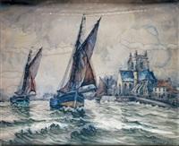 bateaux de pêche arrivant à honfleur by frank-will