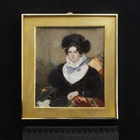 a lady, seated, wearing black dress with white fill-in and standing frilled collar tied with a pale blue ribbon bow, black headdress with jewelled pin, she holds a white glove by frederick cruickshank