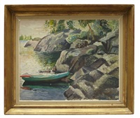 strandparti med båt från sjön klemmingen by leander engström the elder