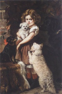 a little girl with a labrador, an english toy terrier, a bichon frise and it's puppy by edith arkwright