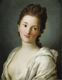 portrait de femme au vêtement blanc by pietro antonio rotari