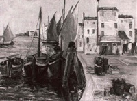 schiffe am quai by magda bittner-simmet