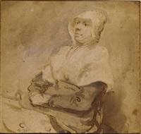 femme assise, tournée vers la gauche by abraham van dyck