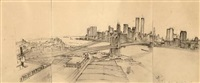 untitled (manhattan skyline with brooklyn bridge) by rackstraw downes