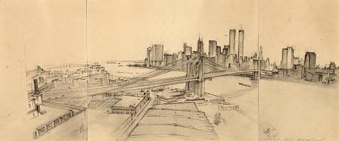 untitled manhattan skyline with brooklyn bridge by rackstraw downes