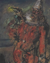 le clown rouge by georges rouault