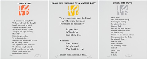 tiger music from the umbrage of a master poet quiet the dove from the book of love poem 3 works by robert indiana