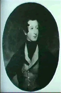 portrait of stephen rowley conroy (1815-41), bust length,  wearing a brown coat and fawn waistcoat by frederick yeates hurlstone