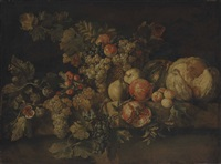 a melon, pomegranates, grapes, quinces, apples and other fruit on a stone ledge by michelangelo di campidoglio