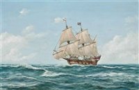 the mayflower heading for the new world by john bentham-dinsdale