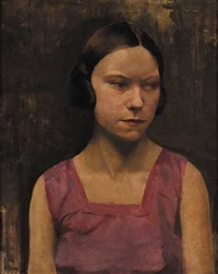 head of a girl in a mauve dress by eileen reid
