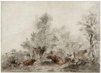 landschaft mit einer viehherde, anglern und einem dorf im hintergrund by albert jansz klomp