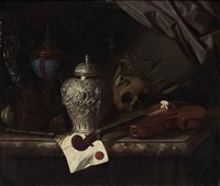 violin, a skull draped with laurel branches, a silver ginger jar, a recorder, a letter with a red seal, a silver gilt hardstone cup and a silver dish... by pieter gerritsz van roestraten