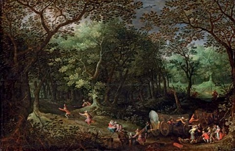 A wooded landscape with bandits attacking travellers in